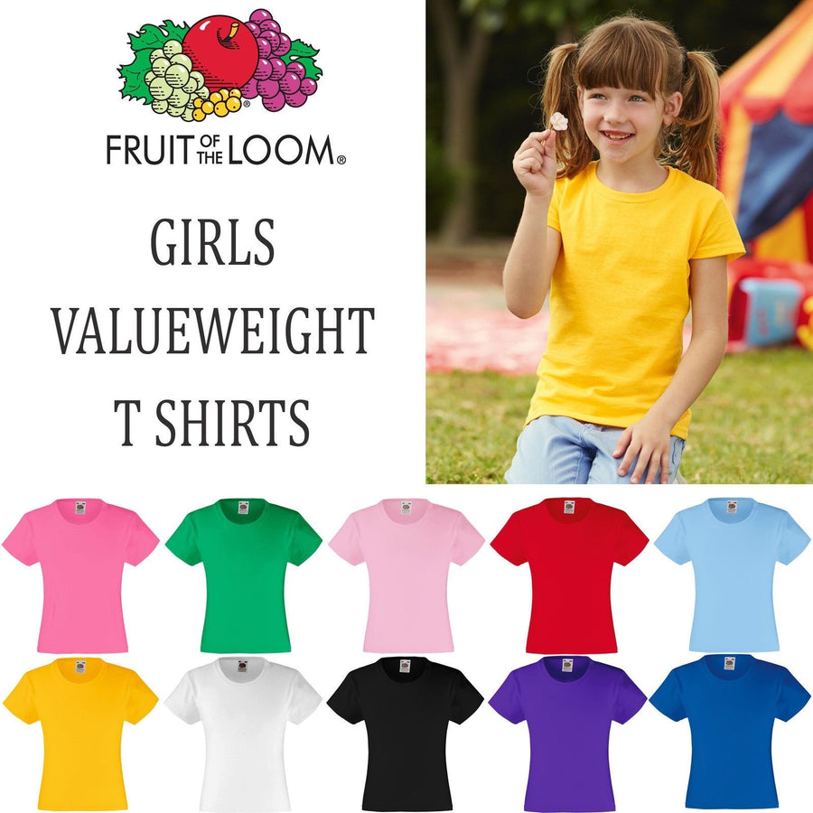 Fruit of the Loom GIRLS FIT Valueweight T Shirt TopTee School Fashion Wholesale