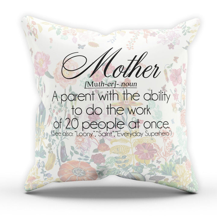 Mother Definition Floral Cushion Pillow Day Gift Birthday Room Novelty Present