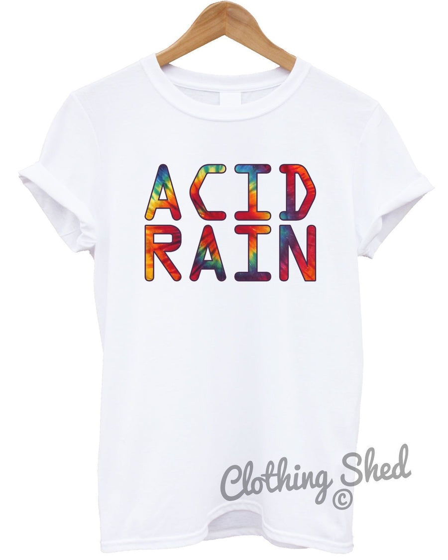 Acid Rain Hipster Mens Tshirt Womens Funny Party 80s Hippie Tie Dye Top Festival