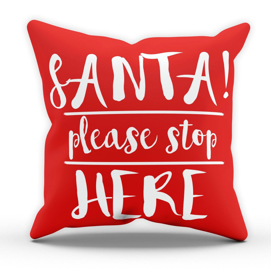 Santa Please Stop Here Pillow Cushion Post Christmas Children Kids Bedroom M60