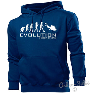 Scuba Diving Evolution Hoodie Mens Womens Kids Hoody Sports Water Holiday Beach, Main Colour Navy