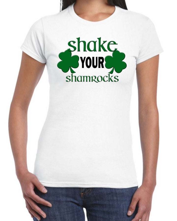 Shake Your Shamrocks T Shirt Top Womens Boobs St Patrick's Day Drunk Rude EP15