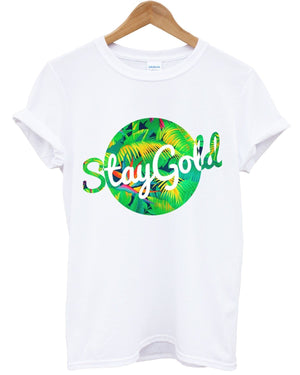 Stay Gold Tropical T Shirt Summer Holiday Palm Tree Hipster Beach Fresh Swag Top