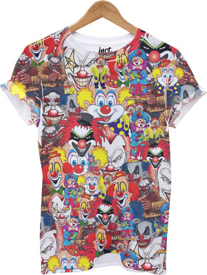 Clown All Over Print T Shirt Halloween Top Fancy Dress Costume Spooky Funny Joke