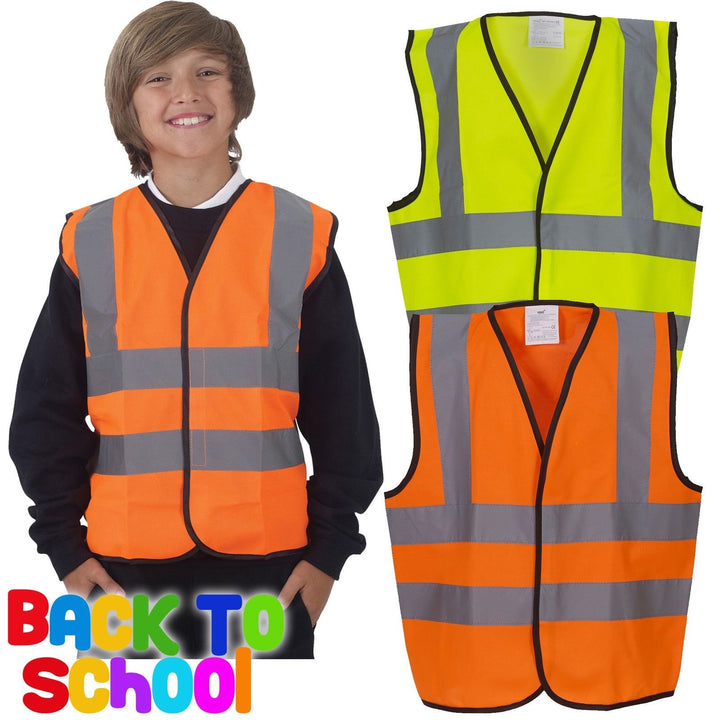 Children's Hi-Vis Waistcoat High Visibility Kids Boys Girls Hi Viz Vest School