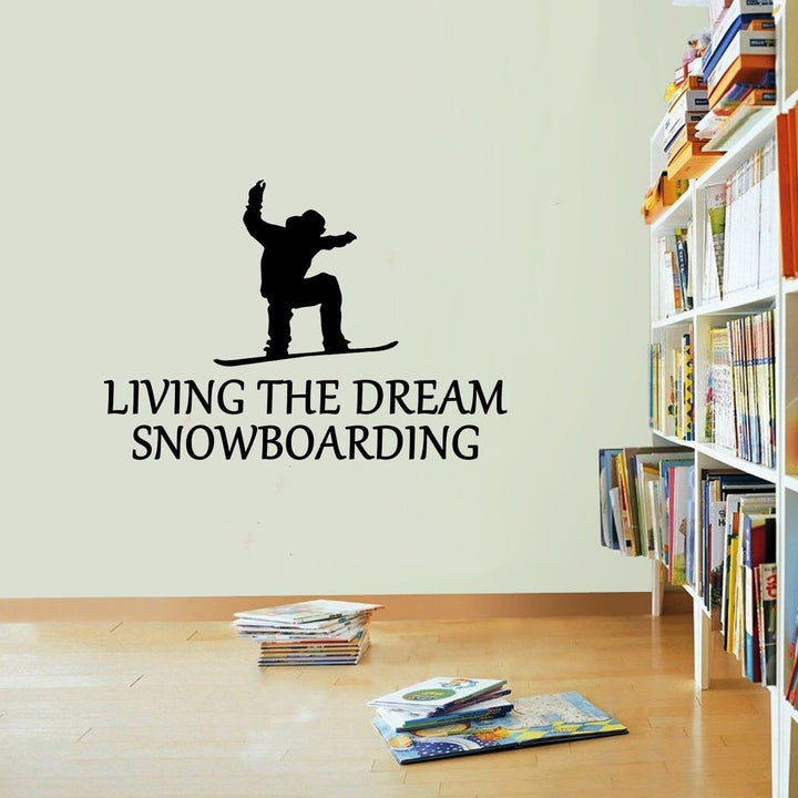 Snowboarding Sticker Living The Dream Snowboard Sport Wall Vinyl Print Decal Art