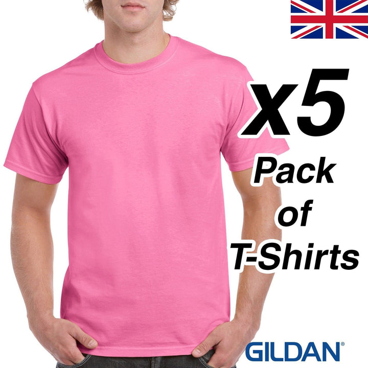 Mens Azalea Light Pink T Shirt 5 Pack Gildan Heavy Cotton Tee Plain Cheap Work