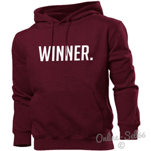 Winner. Hoodie Hoody Men Women Kids Funny Winning Champion Gift Present, Main Colour Maroon