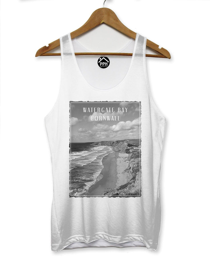 Watergate Bay Cornwall Vest Surf Men Singlet Sleeveless Tank Famous Surfing 114