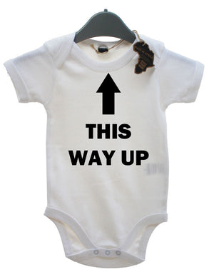 This Way Up Baby Grow BabyGrow Funny Birthday Present Playsuit Newborn Unisex