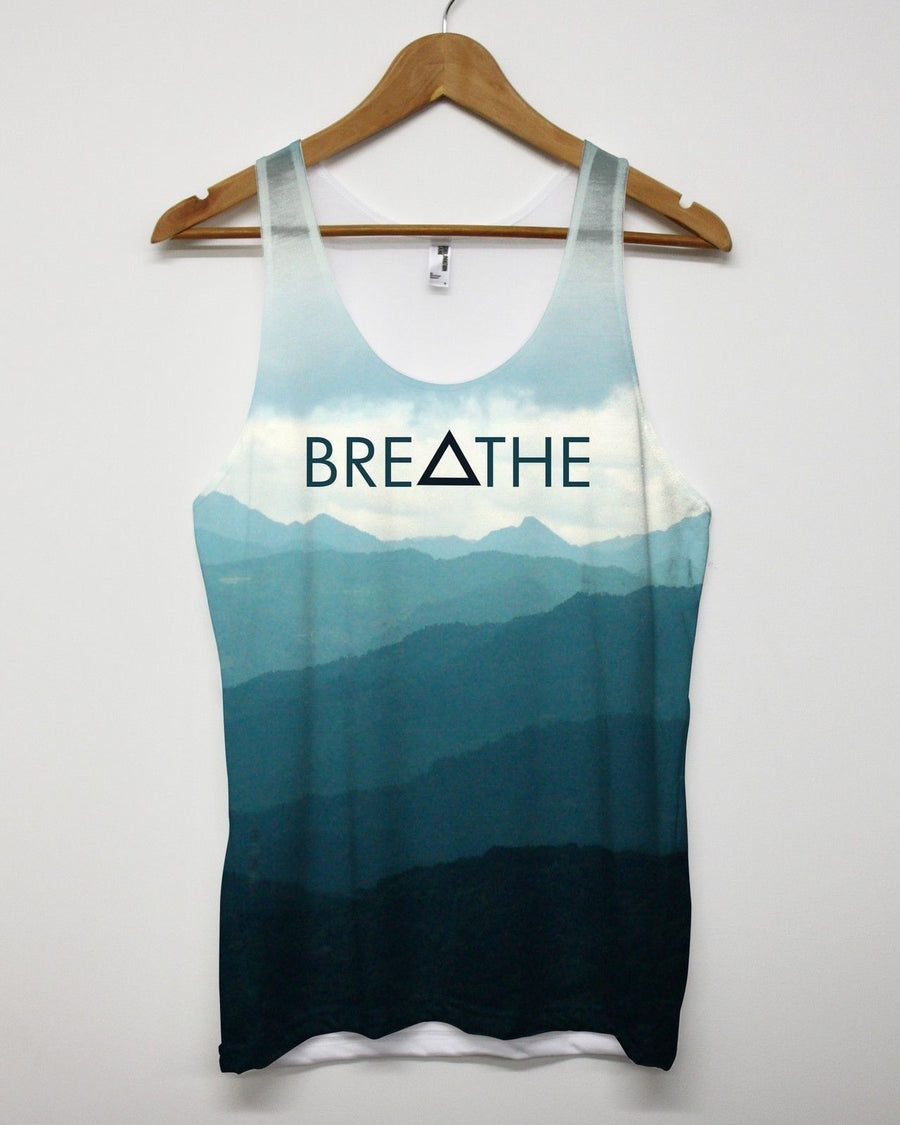 Breathe All Over Vest Print Triangle Hipster Tank Top Apparel Men Women Mountain