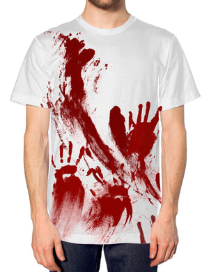 Zombie Blood Hand Print T Shirt Men Halloween Costume Outfit Women Kid Splatter