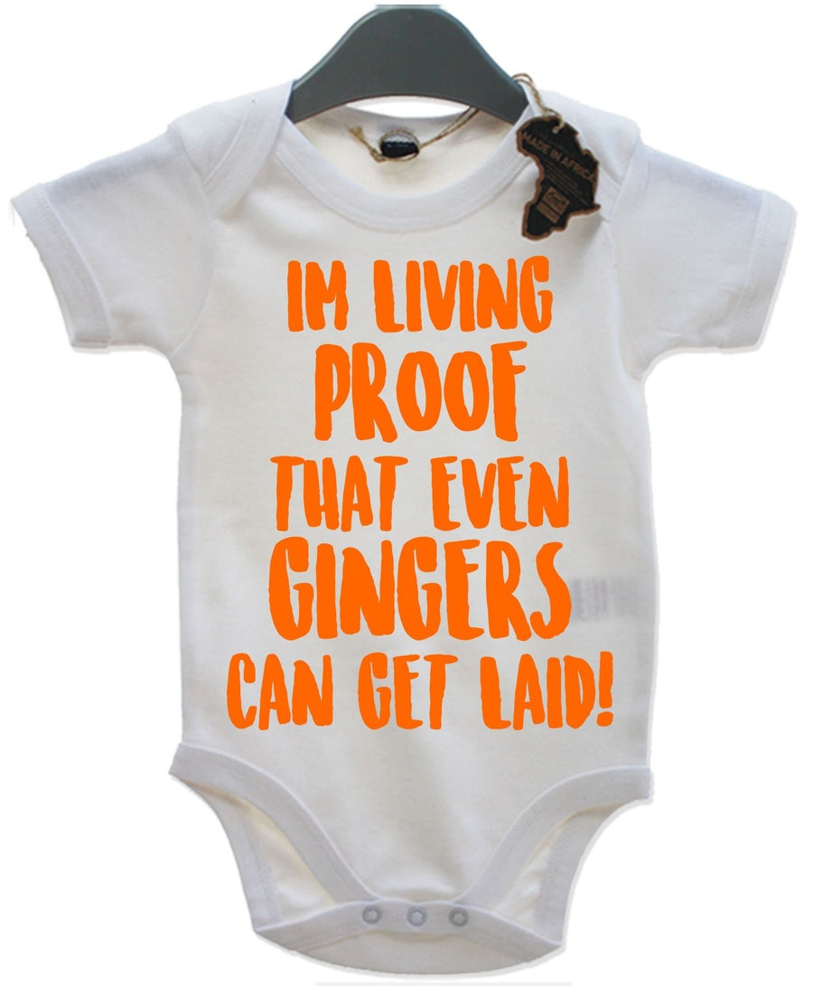 I'm Living Proof That Even Gingers Can Get Laid Babygrow Rude Joke Insult EBG14