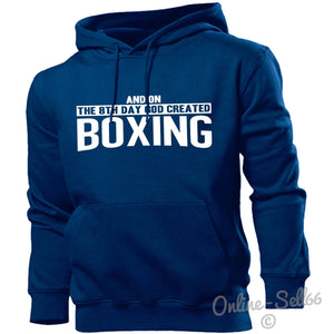 And On The 8th Day God Created Boxing Hoodie Men Women Boxer Fighter Champion, Main Colour Navy