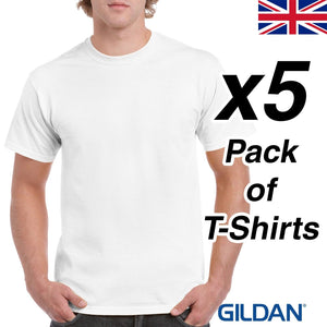 Mens White T Shirt 5 Pack Gildan Heavy Cotton Tee Top Plain Cheap Work Bundle UK