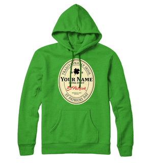 PERSONALISED ST PATRICKS DAY HOODIE YOUR NAME SURNAME BEER BADGE GUINNESS L27
