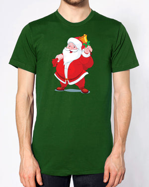 Santa T Shirt Father Christmas Claus Presents Gift Festive Top Here Comes Snow , Main Colour Bottle Green