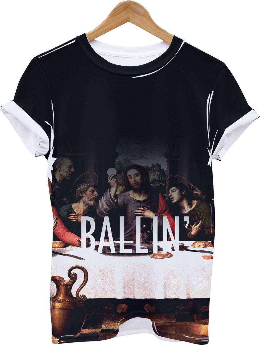 Ballin All Over Print T shirt Lad Mens Top Swag Indie Religion Bible Funny