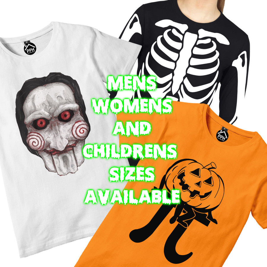 Skeleton Fancy Dress Halloween T Shirt Mens Womens ARMS BODY PRINT Party H4