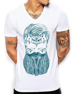 Teal Beard Distinkt Youth V Neck T Shirt Top Mens Hipster Fitted Summer EDY7