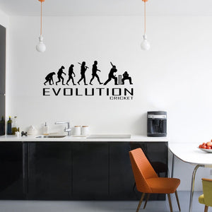 Evolution Of Cricket Wall Sticker Vinyl Decal Decors Art Sports Bowl Bat Bowling