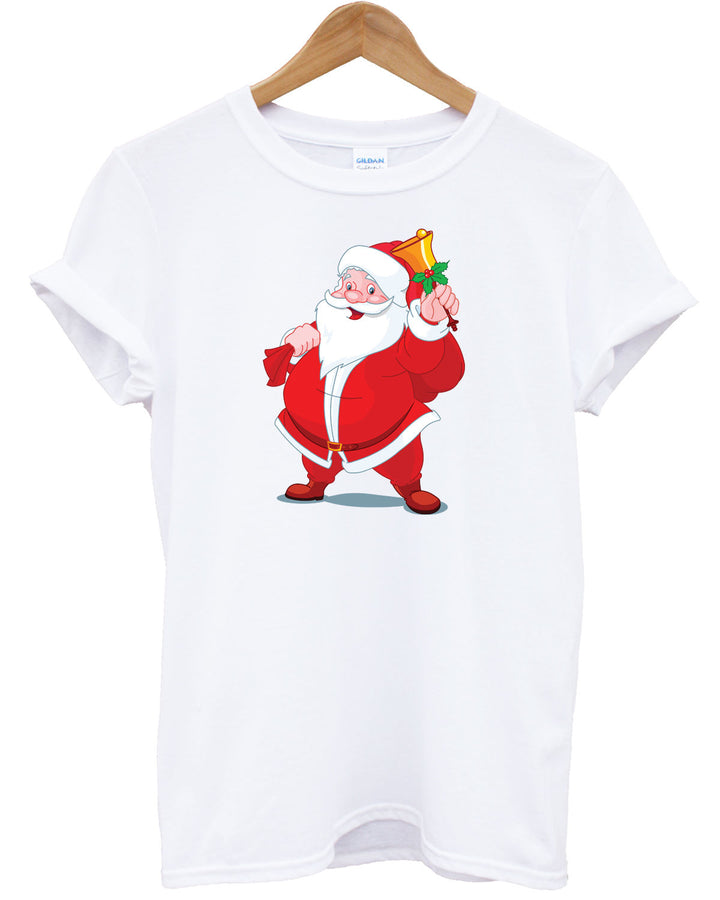 Santa T Shirt Father Christmas Claus Presents Gift Festive Top Here Comes Snow , Main Colour White