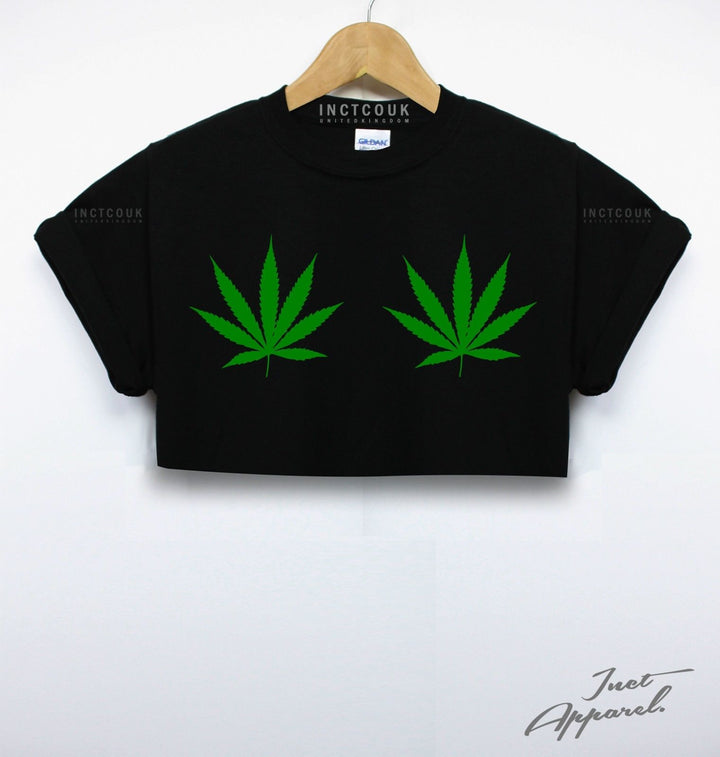 Cannabis Boobs Crop Top T Shirt Baggy Rugged Stoned Drugs Weed Dope Girl Fashion