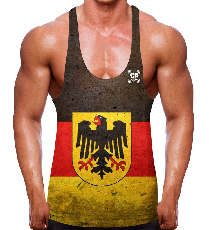 GERMANY FLAG STRINGER VEST TOP GYM WEAR WORKOUT GERMAN MEN BODYBUILDING TRAINING