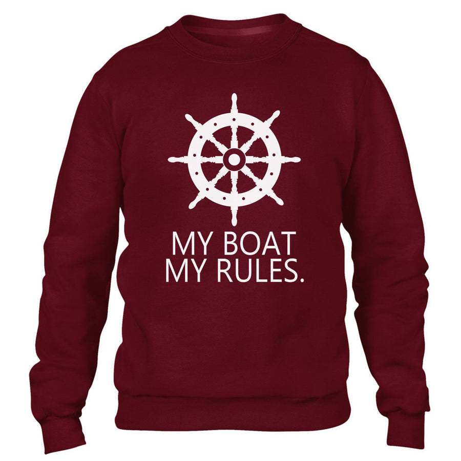 My Boat My Rules Funny Mens Sweatshirt Yacht Top Sail Kayak Water Sports Kids