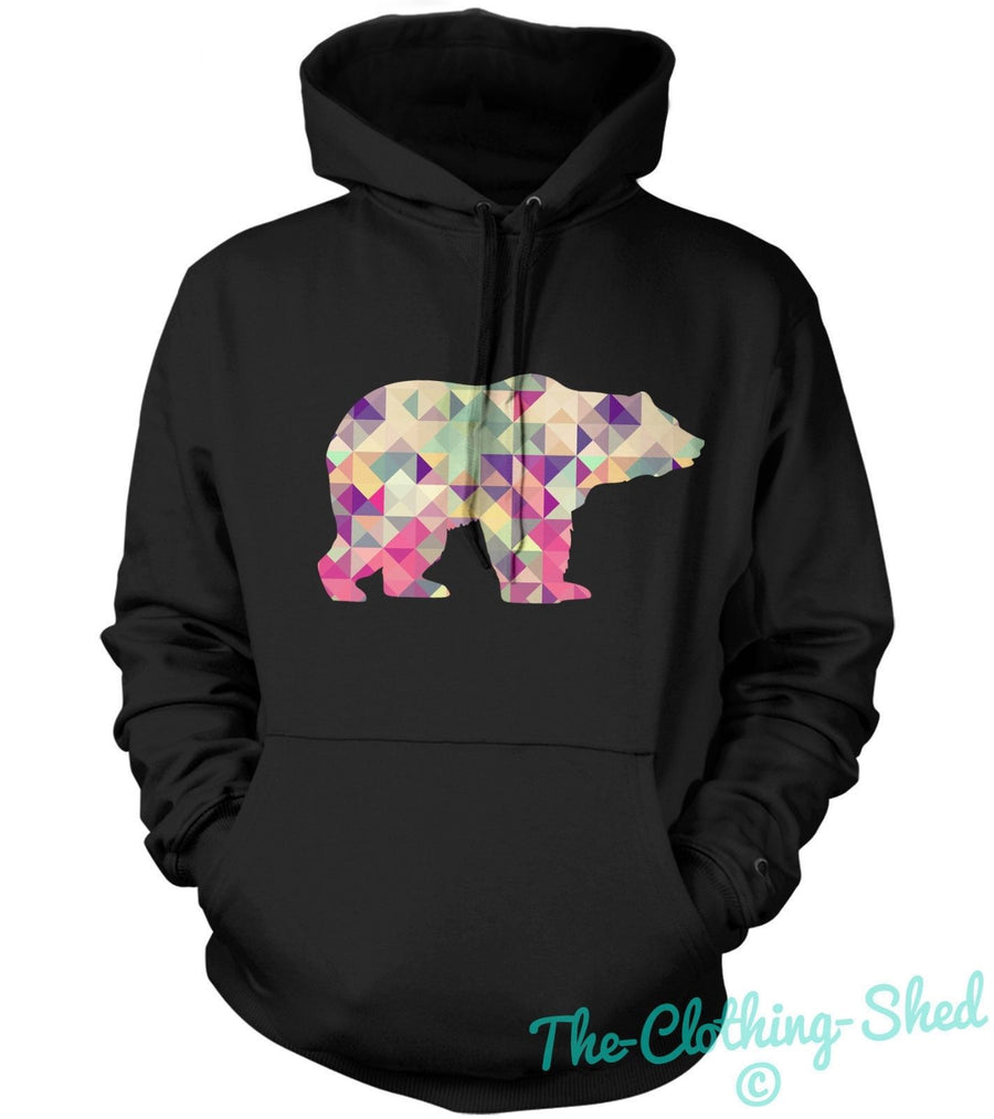 Geometric Shapes Bear Silhouette Hoodie Jumper Unisex Mens Geometry Grizzly