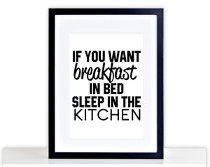 Breakfast In Bed Picture Funny Poster Framed + Mounted Kitchen Picture Photo 203