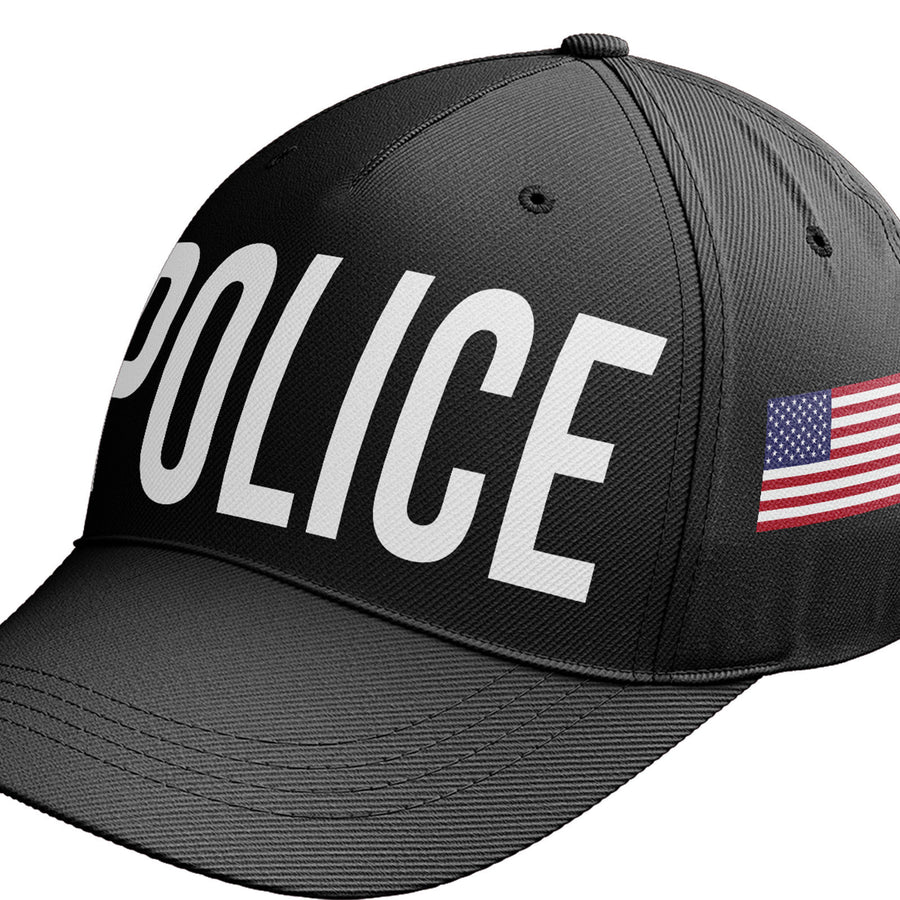 Police Cap Fancy Dress Black Baseball Cap Swat America Flag Outfit Hat C14