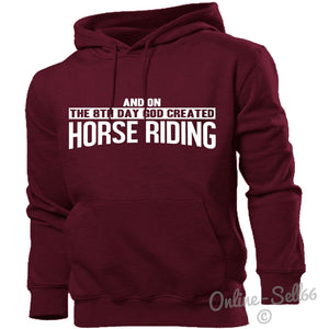 On The 8th Day God Created Horse Riding Hoodie Men Girls Boy Horse Racing Jockey, Main Colour Maroon