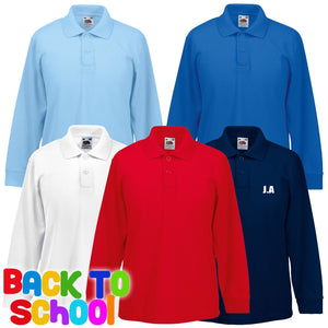 Fruit Of The Loom Childrens LONG SLEEVE 65/35 Polo Shirt School Boys Girls 63201