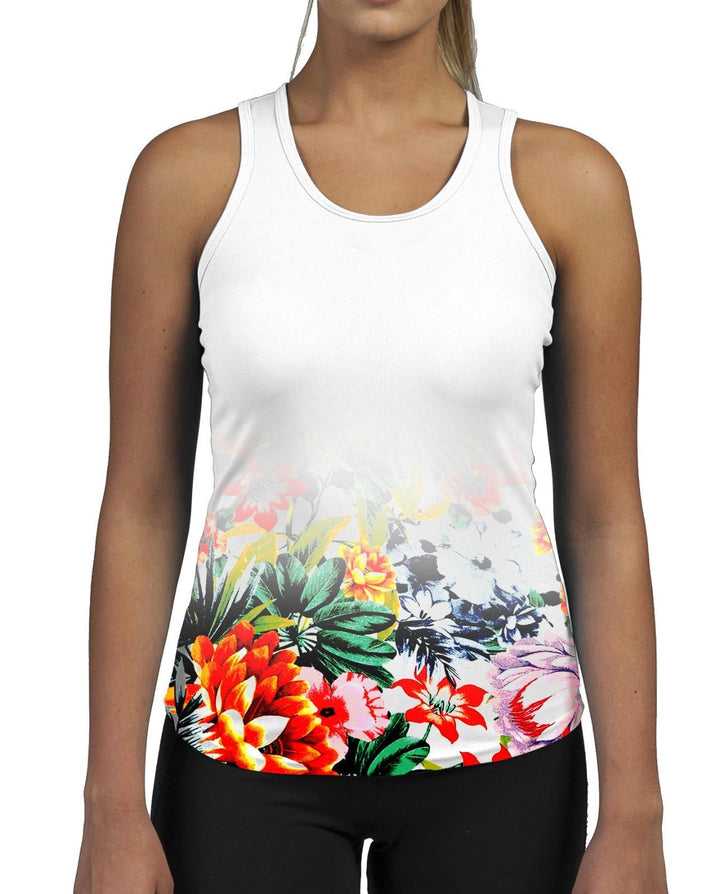 Poster Flower WOMENS GYM TANK Top Vest Fitness Workout Gym Spring Bright Floral