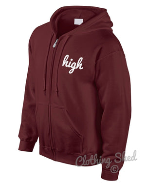 High Loose Zipped Hoodie Wasted Hipster Swag Geek Street Mens Womens