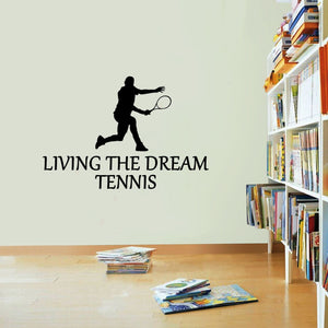 Tennis Sticker Living The Dream Sport Racquet Ball Wall Vinyl Print Decal Art