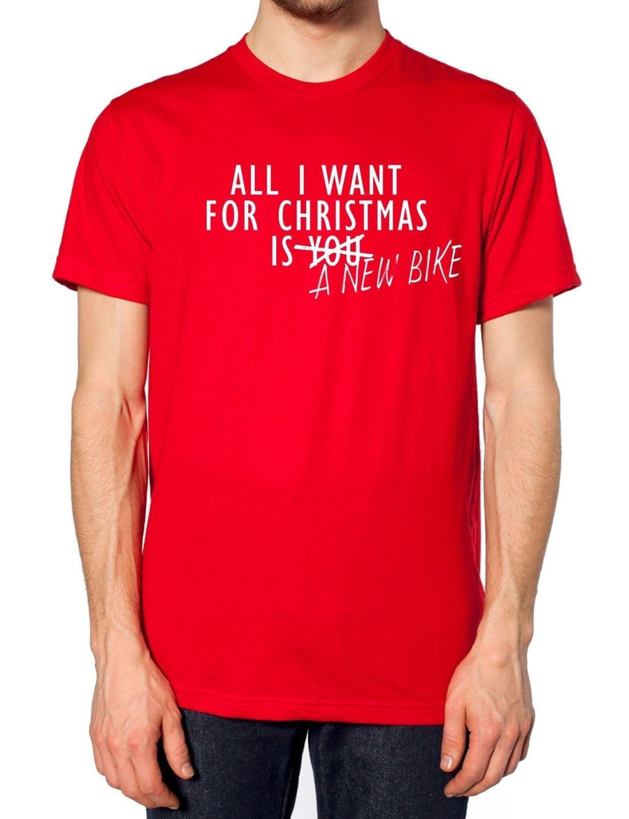 All I Want For Christmas Is A New Bike T Shirt Motorbike Mens Scooter Present , Main Colour Red