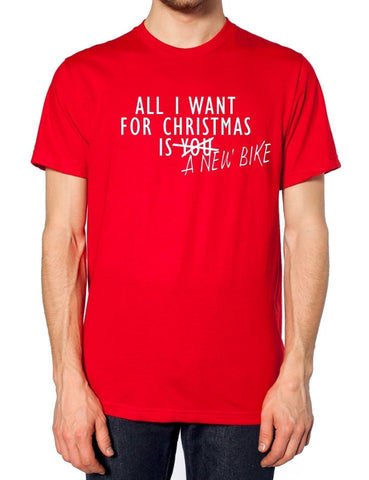 Image of All I Want For Christmas Is A New Bike T Shirt Motorbike Mens Scooter Present , Main Colour Red