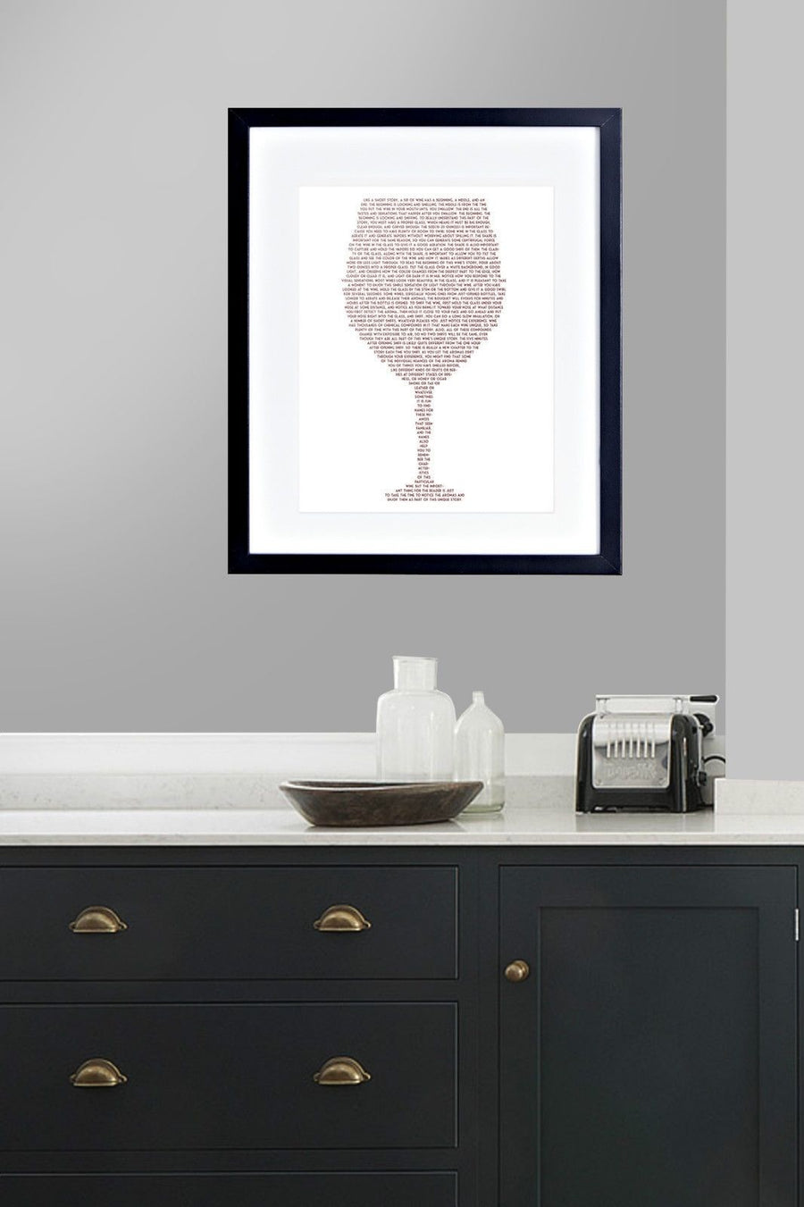 Wine Tasting Glass Picture Drink Poster Kitchen Print Framed Mounted Gift 242