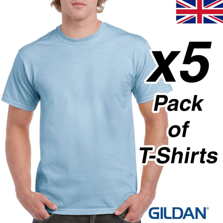 Mens Light Blue T Shirt 5 Pack Gildan Heavy Cotton Tee Top New Plain Cheap Work