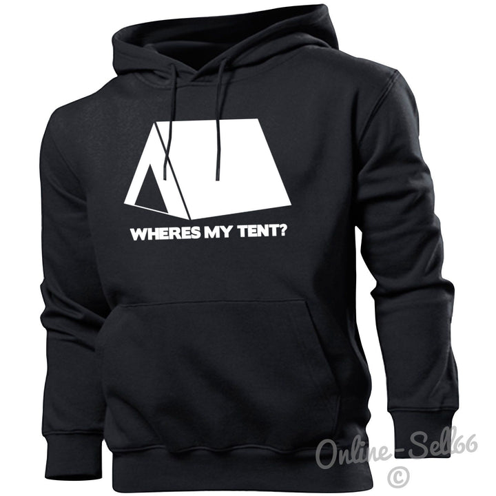 Wheres my Tent Funny Festival Hoodie Top V Hipster Hippee Hoody Sweatshirt, Main Colour Black