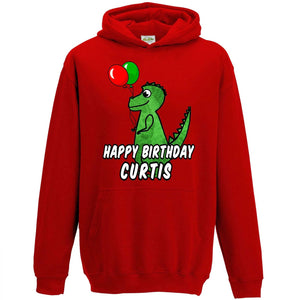 Personalised Dinosaur Birthday Hoodie Boys Party Gift Name Custom Printed L78