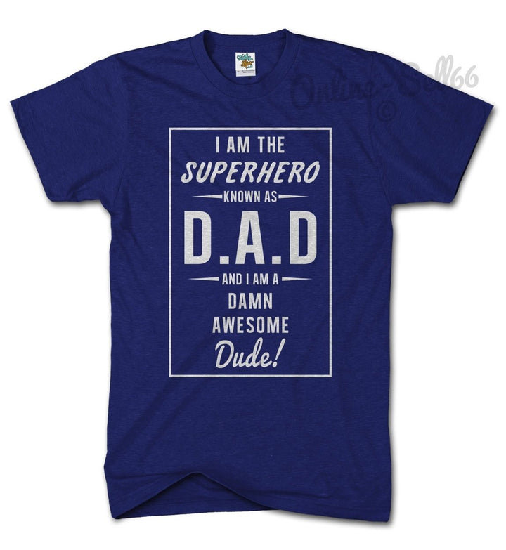 Superhero Dad Funny Tshirt Fathers Day Gift Present T Shirt Top Birthday , Main Colour Navy