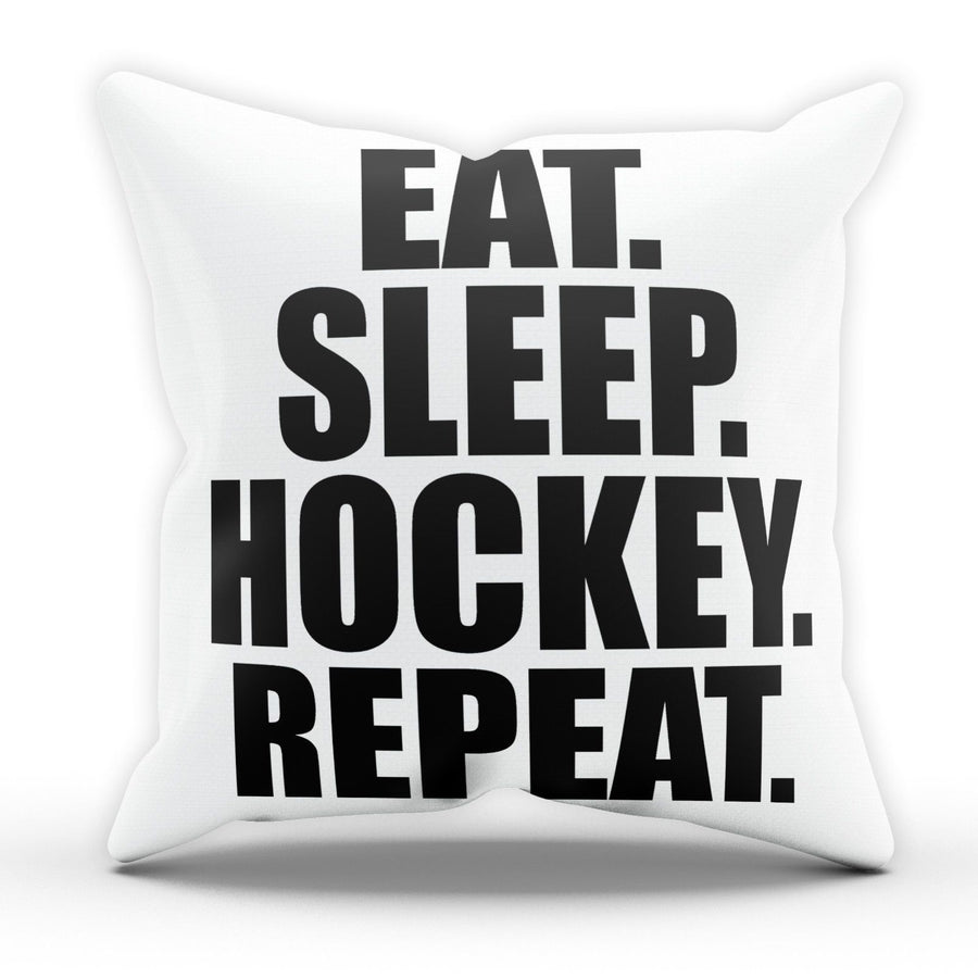 Eat Sleep Hockey Pillow Cushion Pad Cover Case Bed Ice Train Sport Ball Field