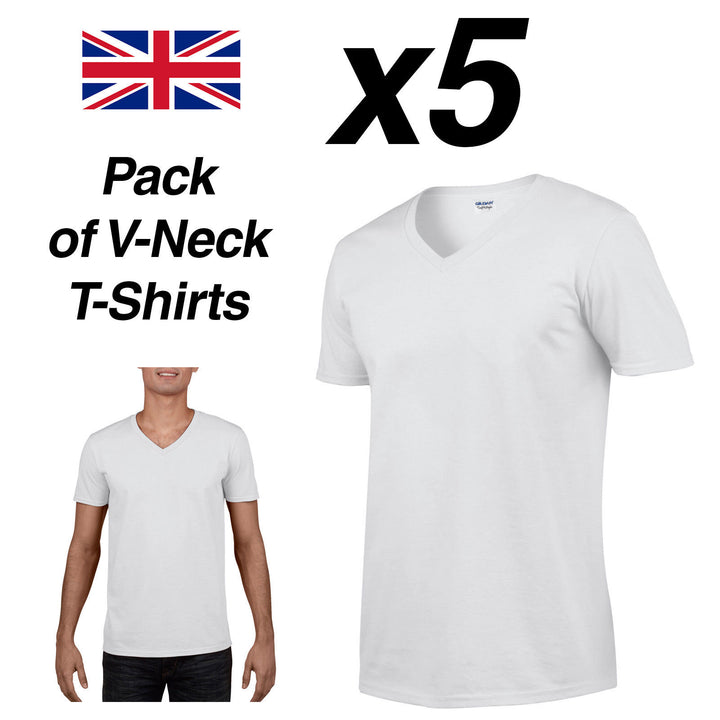 Mens White V-Neck T Shirt 5 Pack Gildan Cotton Tee Top New Plain Cheap Summer