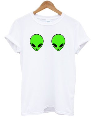 Alien Boobs T Shirt Funny Gothic Hipster Grunge Space Galaxy UFO Top Tumblr