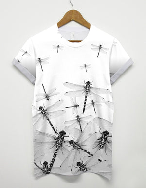 Dragonfly All Over T Shirt Insect Indie Baggy Shop Hipster Abstract Art Dope