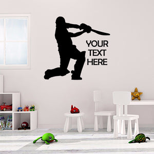 Personalised Cricket Sticker Custom Cricketer Wall Vinyl Print Decal Art Design