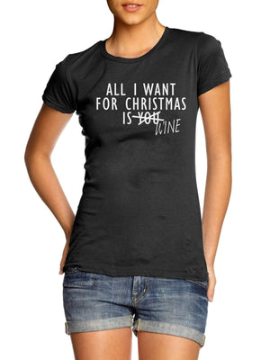 All I Want For Christmas Is Wine LADIES WOMENS T Shirt  Bottle Festive Present , Main Colour Red